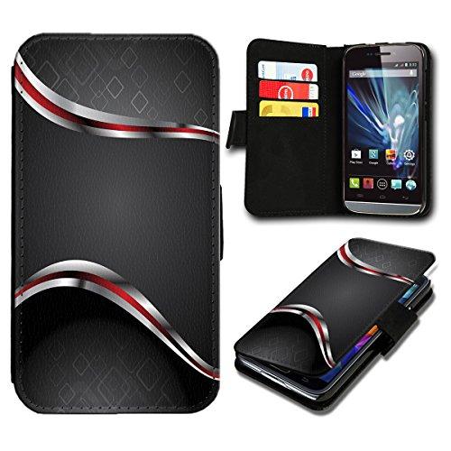 Book Style Wiko Fizz Premium PU-Leder Tasche Flip Brieftasche Handy Hülle mit Kartenfächer für Wiko Fizz - Design Flip SB4