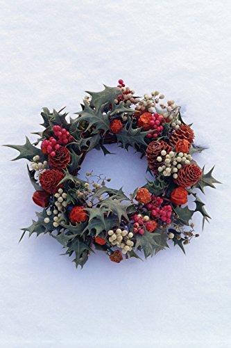 Holly Wreath on Snow Notebook