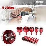 1 x sega a tazza, bimetallica, punta M42 HSS, diametro foro 15 mm-200 mm, per tagliare fori circolari con gambo