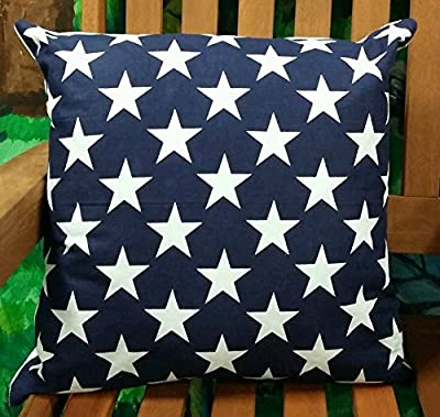 Cushion Cover Star 100% Cotton Navy Blue. - cheap UK light shop.