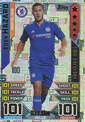 Topps Match Attax 2016 2017 Eden Hazard 15 16 Hundred 100 Club Legend 16 17 Trading Card