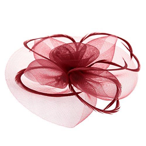 Braut Fascinator Blumen Netz Kopfschmuck Damen Haar Clip Hut Feder Haarschmuck Kopfbedeckung für Party Kirche Hochzeit Cocktail
