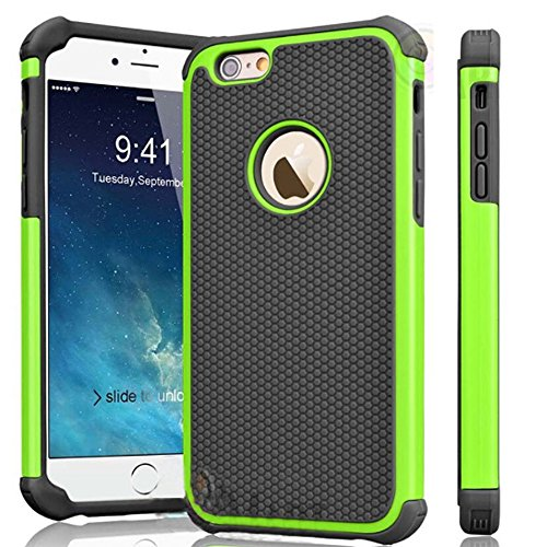 iPhone 7 Hülle, Stoßfest Handy Schutzhülle Stoßgedämpfter Extraharte Tasche Silikon Gel Hybrid Armor Cover Case Etui für Apple iPhone 7 - Schwarz Grun