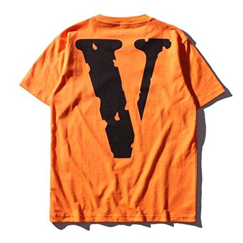Honghu Herren Letters Druck Crew Neck T-shirt Orange