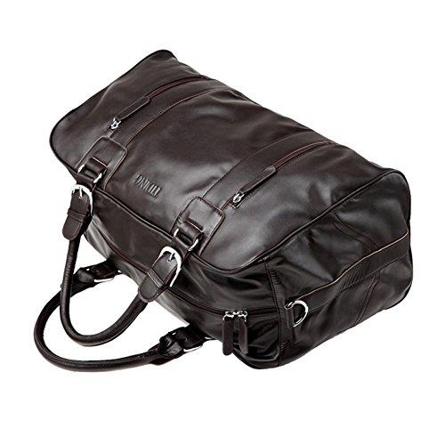Tiding Herren Jahrgang Klassisch Nappaleder Reise Duffle Weekender Gepäck Fitnessstudio Reisetasche Schulter Tasche Tote Handtasche Schwarz Kaffee