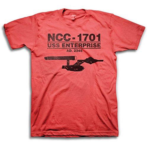 Star Trek U.S.S. Enterprise NCC-1701 Mens Red T-shirt | - Star Trek Red Shirt