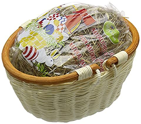 Heitmann Deco 30073Basket with Handle Set 2Pieces With Mountain Meadow Hay, Wood, natural,/White 23x 19x 5cm