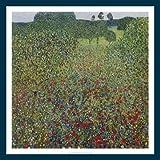Bild mit Rahmen Gustav Klimt - Mohnwiese K 12 - Holz blau, 70 x 70cm - Premiumqualität - Klassische Moderne, dekorativ, Jugendstil, Pointillismus, Blumen, Blumenwiese, Bäume, bun.. - MADE IN GERMANY - ART-GALERIE-SHOPde
