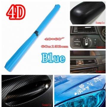 24 Zoll X 60 Zoll 4D Gloss Blue Car Auto Carbon Fiber Drum Wrap Haut Aufkleber Abziehbild Deckel