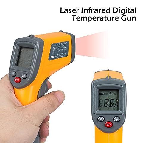 Senweit professionnel IR Infrarouge Thermomètre numérique Laser sans contact point pistolet Température -50°–360°C Jaune/noir