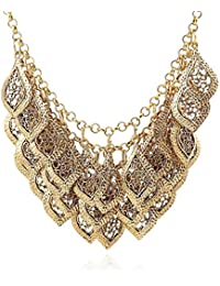 Yazilind Vintage Gorgeous Multilayer Gold Plated Leaves Chain Collar Bib Temperament Necklace