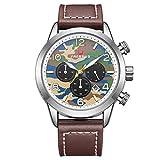 FAERDUO Herren Uhr Chronograph Quarz mit Leder Armband F8220 Mode Militärische Zifferblatt