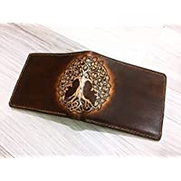 Unik4art - Tree of Life Celtic genuine leather handmade slim bifold wallet for men with customization Personalized gift for men