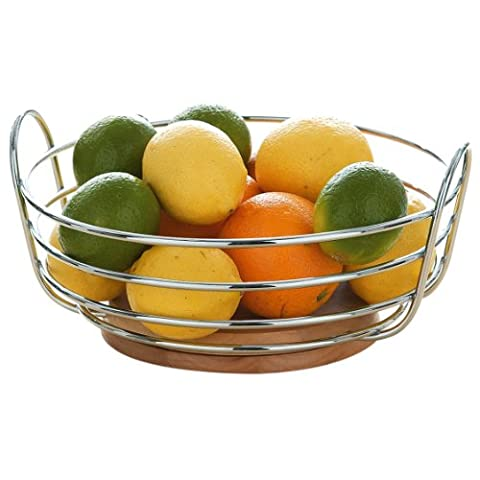 Premier Housewares Round Chrome Wire Fruit Bowl with Rubber Wood