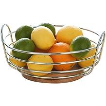 Premier Housewares Corbeille à fruits ronde Métal chromé Base en bois d'hévéa