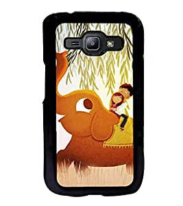 Fuson Premium 2D Back Case Cover Girl on eleplant With Red Background Degined For Samsung Galaxy J1::Samsung Galaxy J1 J100F