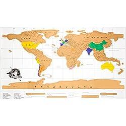Mapa Mundi para rascar, Mapa para rascar multicolor, Mapa del Mundo para rascar viajes. Mapamundi para rascar 88 x 52 cm.