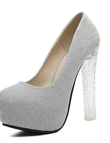 WSS 2016 Chaussures Femme-Mariage / Habillé / Décontracté / Soirée & Evénement-Violet / Argent-Gros Talon-Talons-Chaussures à Talons-Matières silver-us7.5 / eu38 / uk5.5 / cn38