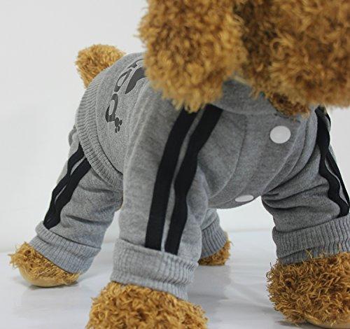 Zehui Haustier Hund Warmen Vier Beine Hoodies Welpe Pullover T-shirt Kleidung Winter-Pullover Bekleidung Grau XXL - 3