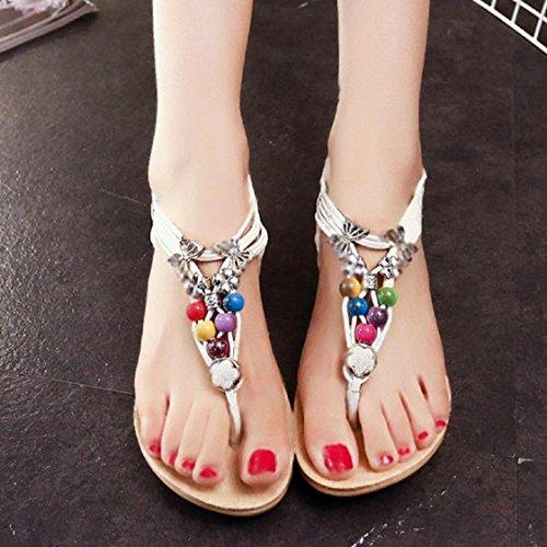 Vovotrade Les plus populaires d'été Bohemia douces perles Sandales clip Toe Sandals Chaussures de plage Blanc