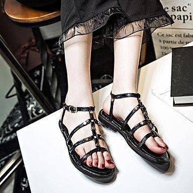 LvYuan Da donna Sandali Comoda Gomma Estate Footing Comoda Fibbia Piatto Nero Meno di 2,5 cm Black