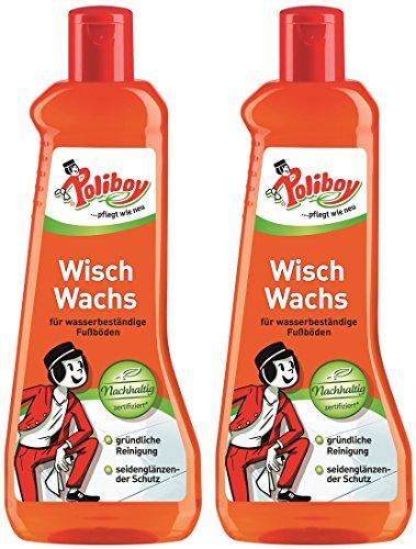 Poliboy - Wisch Wachs - Reinigung und Pflege aller wasserfesten Fußböden - Bodenreinigung - 2er Pack - 2x500 ml (1 Liter) - Made in Germany