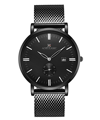 AOKULASIC Mens Fashion Date Analog Quartz Waterproof Wrist Watch with Particular Second Sub Dial. (Black)