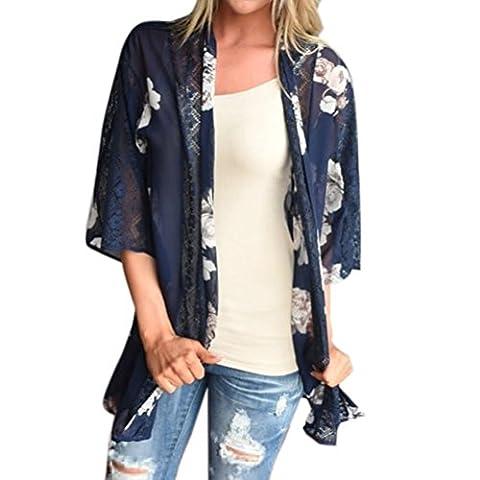 Lenfesh Frau Lose Blumendruck Strand Chiffon Schal Kimono Strickjacke Top Cover Bluse (XL, Blau)