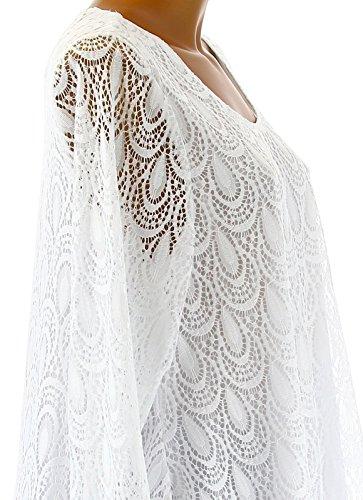 Charleselie94® - Tunique longue dentelle voile bohème hippie blanc grande taille FLORIANNE BLANC Blanc