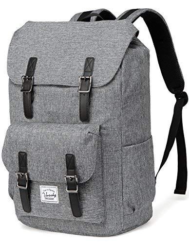 VASCHY Schulrucksack Jugendliche Rucksäcke Lässiger Rucksack Camping Rucksack Vintage Rucksack für 15,6 Zoll Laptop (Kohlengrau)