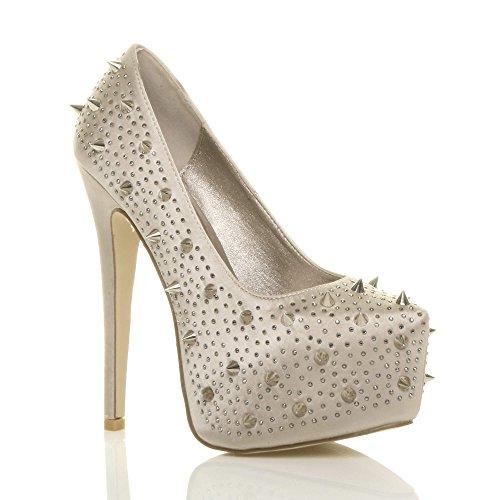 Chaussures Décolleté Pour Femme Avec Plateforme Cachée Et Talon Haut Pour Numéro De Fête Champagne Satin Avec Pointes Pointues