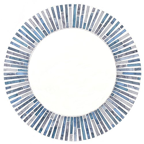 Something Different Round Mosaic Mirror, Blue