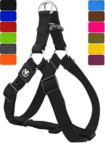 DDOXX Hundegeschirr Step-in Premium Nylon | für Große, Mittelgroße, Mittlere & Kleine Hunde | Geschirr Hund | Katze | Brustgeschirr | Softgeschirr | Zubehör | Schwarz, XS - 1,0 x 32-44 cm