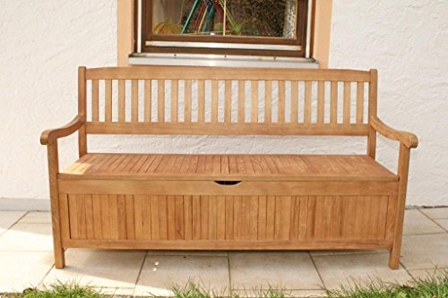 #MSZ Design Gartenbank Truhenbank aus Eukalyptus 157 cm breit 3-sitzig#