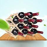 LIXIONG botellero para 3/6/10 Porta Botellas Plegable de madera maciza Estantes de exhibición 2 colores ( Color : Carbon roasted color , Tamaño : 10 bottles rack )