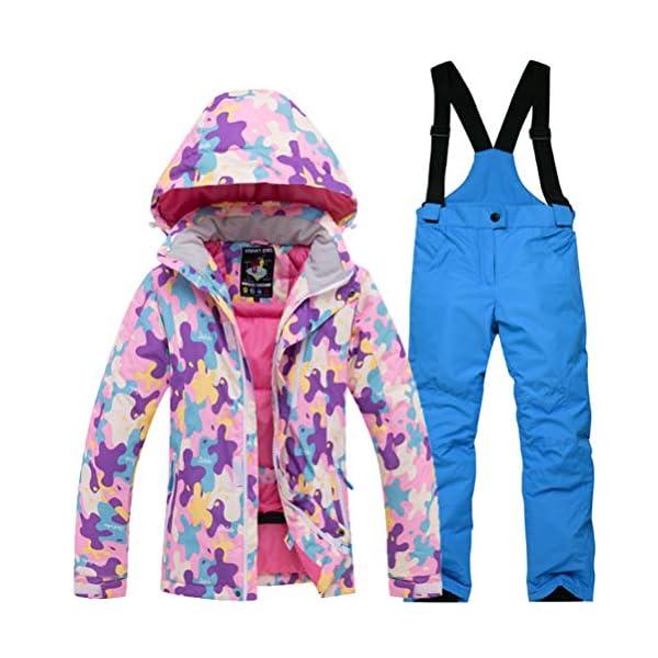 Skijakkeset Traje de Esquí Niños Unisexo Conjuntos Gruesos Niñas Chaqueta con Capucha + Pantalones 2 Piezas 1