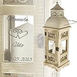 Romantische Hochzeitslaterne mit Gravur im Antik - Look aus Holz und Metall - Personalisiert mit [WUNSCHNAMEN] und [DATUM] - [MOTIV HERZEN]