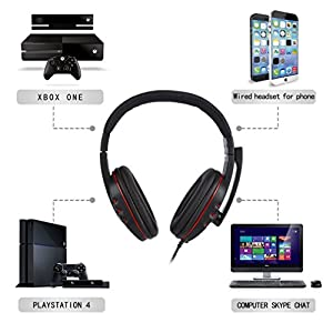 Gaming Headsetfor PS4 Xbox One - Etpark 3.5mm Wired Over-head Stereo Gaming Headset Headphone with Mic Microphone, Volume Control for SONY PS4 PC Tablet Laptop Smartphone Xbox One