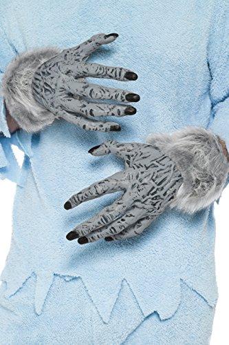 Smiffys, Unisex Werwolf Hände mit Fell, One Size, Grau, (Kostüm Werwolf Handschuhe)