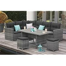 Hochwertige Lounge Garnitur Gartenmöbelgarnitur Gartenmöbel Ecklounge Aluminium Garten Garniur aluminium Gefelcht XXXL