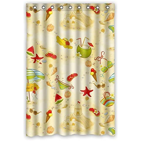 Cute Cartoon Beach Seashell Waterproof Bathroom Fabric Shower Curtain,Bathroom decor 48
