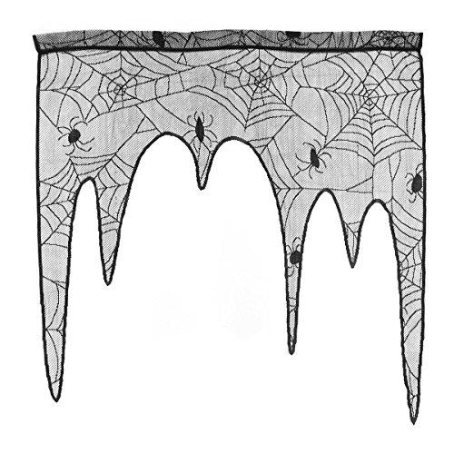 BESTOYARD Halloween Spider Web Spitze Tür Fenster Querbehang Vorhang für Spooky Halloween Urlaub Party Dekoration (Schwarz) (Vorhang Tür Spitze)