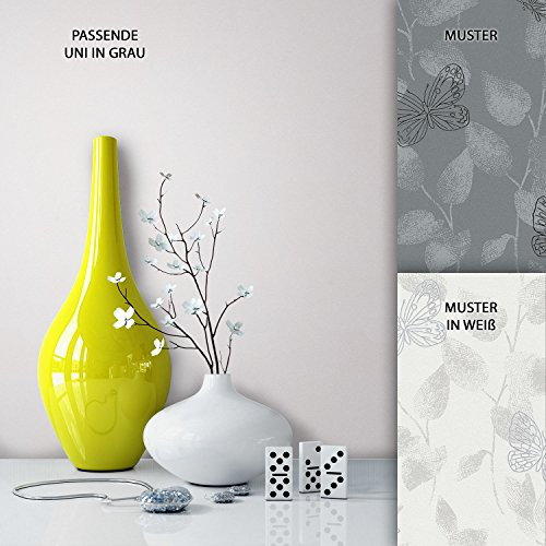 NEWROOM Blumen Tapete Grau Vliestapete Metallic Unis Unifarbe schöne moderne und edle Design Optik , inklusive Tapezier Ratgeber