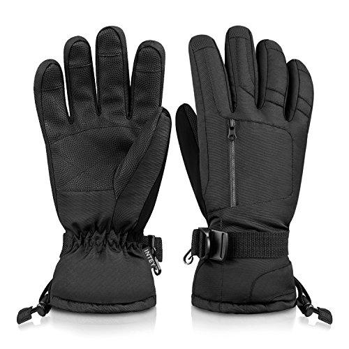 INTEY Skihandschuhe Wasserdichte Winterhandschuhe 3M Thinsulate Warme Handschuhe für Skifahren Eislaufen Snowboard Radfahren (L)