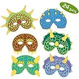 SPECOOL Dinosaur Party Masks, 24 Pack Dinosaur Costume Maschere di Schiuma Compleanno Feste in maschera Masquerade per bambini A tema Party Favori Decorazioni e Cappelli (Dinosaur Mask)