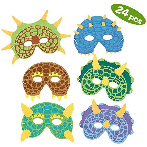 SPECOOL 24Stück Dinosaurier Masken Mit Elastischen Seil Foam-Masken Partydekoration Cosplay Maskerade für Kinder Dino-Geburtstagsparty Junge und Mädchen