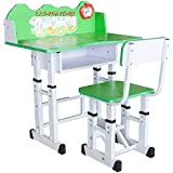 TruGood Unisex Study Table and Chair Set (Green)