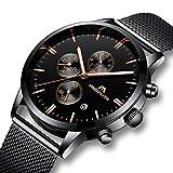 Herren Uhren Männer Militär Sport Wasserdicht Chronograph Schwarz Edelstahl Mesh Armbanduhr Mann Luxus Mode Leuchtende Datum Analoge Uhr