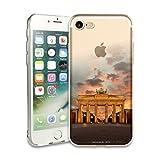 myCityCase iPhone 7/8 Silikon Case BERLIN - Fotodesign Schutzhülle Brandenburger Tor im Sonnenuntergang - weiches iPhon
