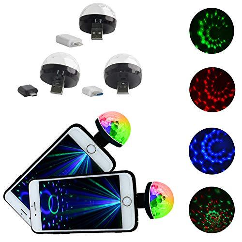 Mini-USB-Disco-Licht, Feleph Micro-USB Mini-RGB-LED Mini-USB-Disco-Licht, Feleph-Micro-USB-Mini-RGB-LED-Birne 4W Bühnenlicht Sound Control Club Pub Disco-Party-Musik-Kristall (3 Stücke, 3 Arten)